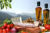 stock photo of italian food  - Decorative Italian deli with ingredient salami cheese - JPG