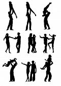 stock photo of poodle skirt  - vector drawing men and women dancing rock  - JPG