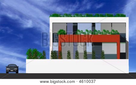 3D Of A Modern House Idyllic