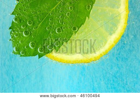 Lemon slice, mint leaf and soda