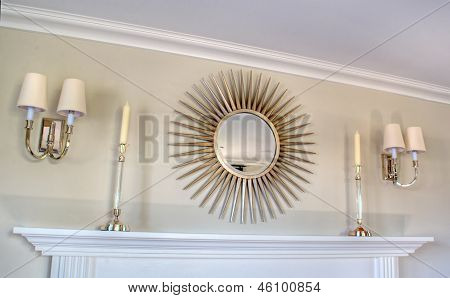 Light Colored Indoor Mantle Decor