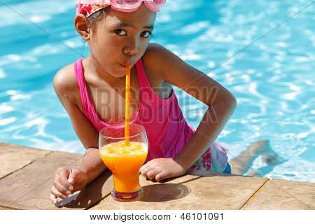Little Asian Girl In The Swimming Pool