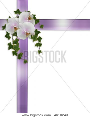Orchids And Ribbons Wedding Border Stock photo