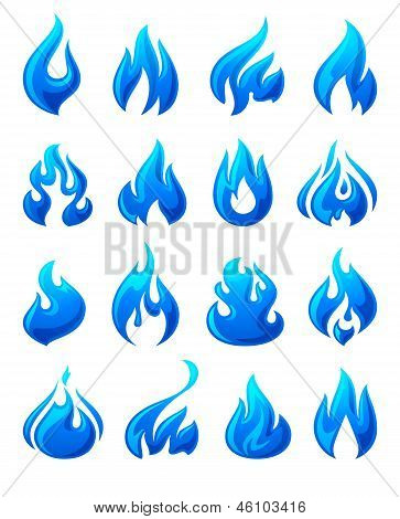 Fire flames, set of blue icons