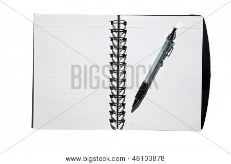 White Paper lined note pad with a pen isolated on white with room for your text or images