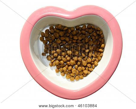 heart shaped dog dish with dry dog food inside