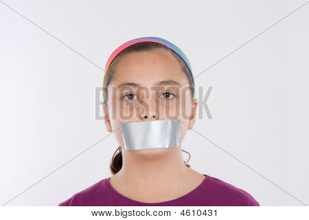 Angry Girl With Adhesive