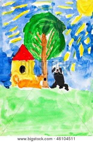 Child's Painting - Two Dogs And Home