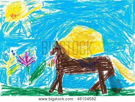 Child's Drawing - Horse Grazes In Meadow