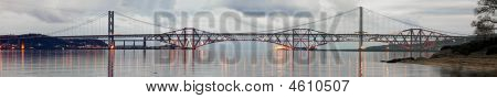 Forth Road And Rail Bridges, Firth Of Forth, From South Queensferry, On A Still Evening