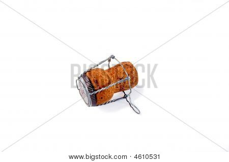 Cava (champagne) Cork Isolated Over White With Clipping Path.