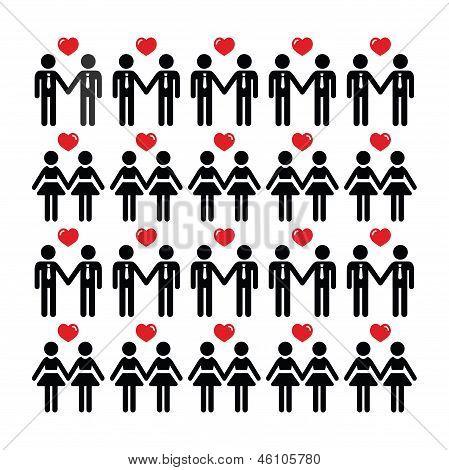 Gay lesbian couple icons vector card