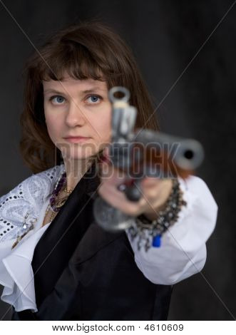 The Girl - Pirate With Ancient Pistol In Hand