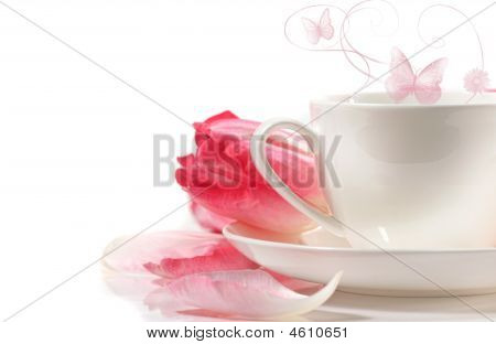 Porcelain Teacup With Pink Tulips On White