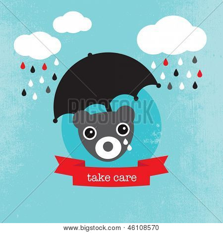 Bear crying in the rain kids illustration condolence for baby boy template for postcard