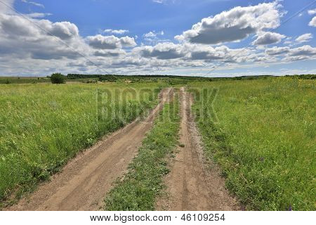 Rut road among green steppe under nice sky