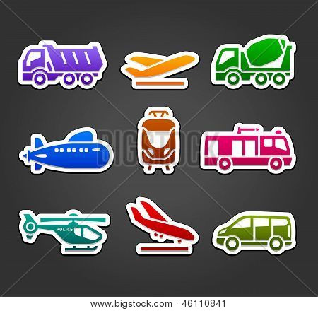 Set of stickers, transport color pictograms