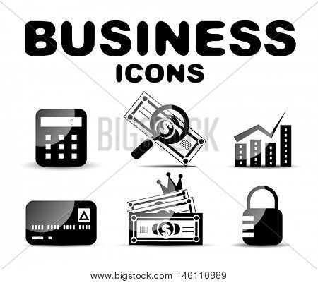 Black vector glossy business icon set