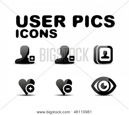 User black glossy icon set. Vector illustration