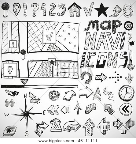 Vector set of black navigation hand drawn doodles