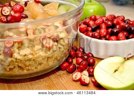 Preparing Apple Cranberry Dressing