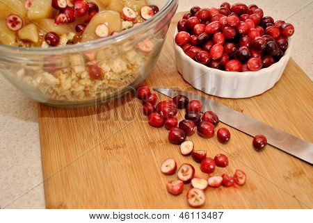 Making Cranberry Apple Stuffing (Dressing)