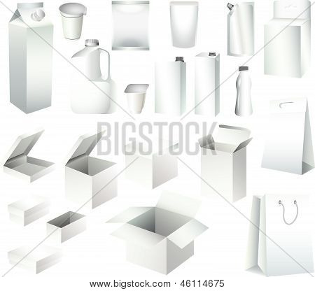 packaging paper boxes and bottles
