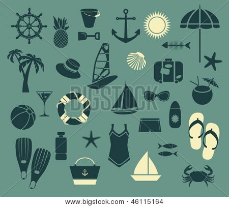 Summer Seaside Icons - Set of simple summer icons, including swimsuit, summer hat, flip-flops, scuba diving fins and suntan lotions