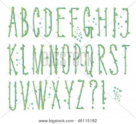 Skinny Bumpy Type - Tall alphabet letters with heart and star 'bumps'