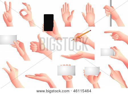 hands and gestures vector set