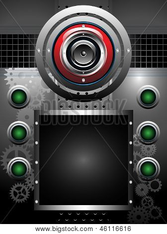 High tech background with red loudspeaker