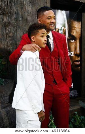 NEW YORK - MAY 29: Actor Will Smith (R) and son Jaden attend the premiere of