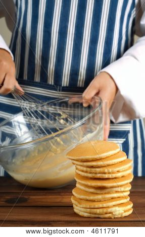 Flapjacks Or Pancakes And Whisking Mixture