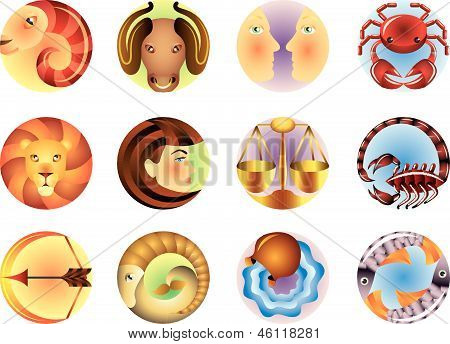 Zodiac signs circled