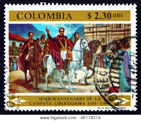Postage Stamp Colombia 1969 Simon Bolivar Entering Bogota