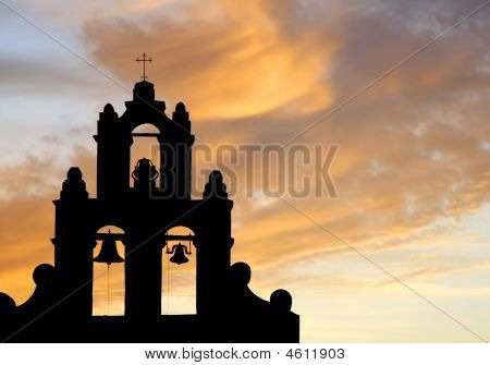 Mission Bell Tower At Sunset