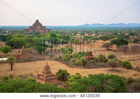 The Thatbyinnyu as seen from Minyeingon Temple in old Bagan, Burma