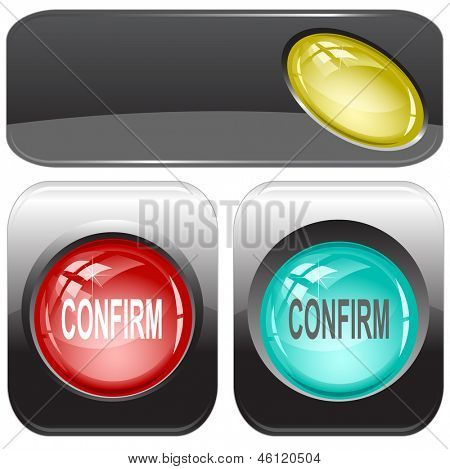 Confirm. Internet buttons. Raster illustration. Vector version is in my portfolio.