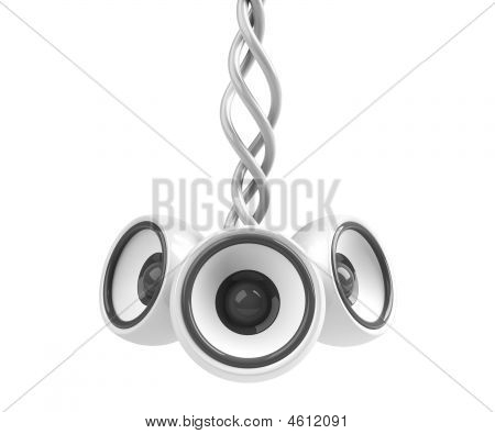 White Hanging Audio System Isolated