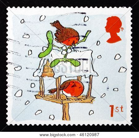 Postage Stamp Gb 2001 Robins And Birdhouse, Christmas