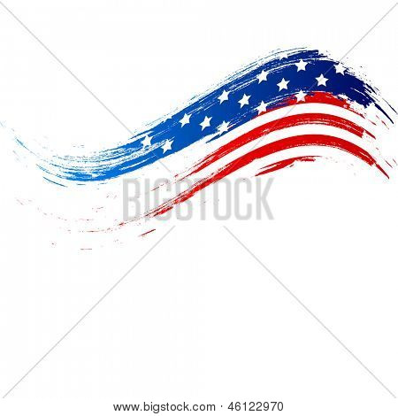 4th of July, American Independence Day grungy wave in national flag colors on white background.