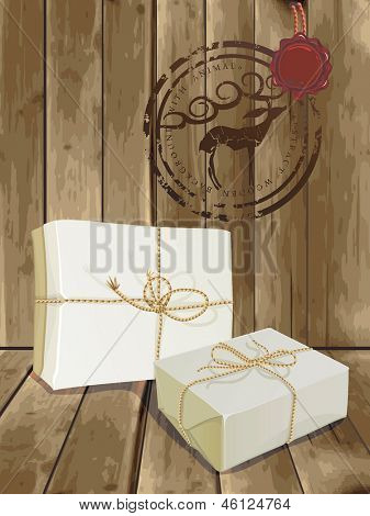 Vintage gift box (package) wrapped paper and tied with twine on old wooden background. Beautiful Illustration with parcel