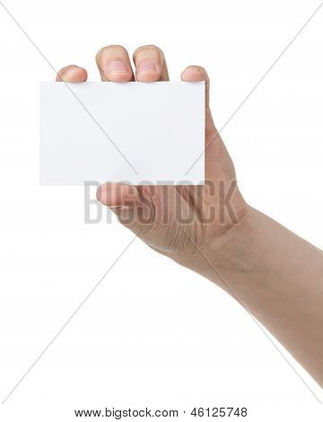 Female Teen Hand Showing Blank Paper Card
