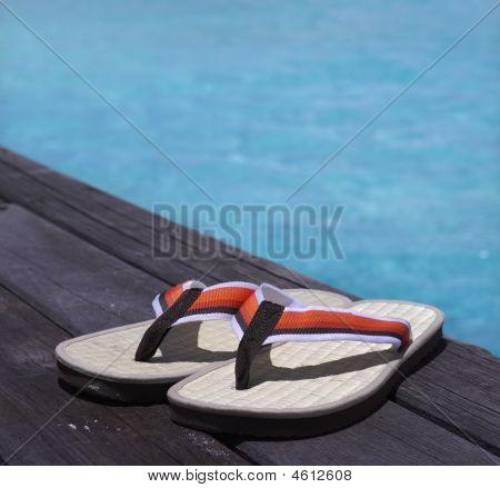 Sandalen on a wooden floor