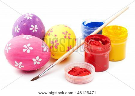 Easter Eggs With Paints And Paintbrush On White