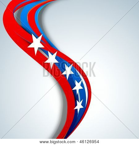 4th of July, American Independence Day concept with wave in national flag colors and stars on grey background.