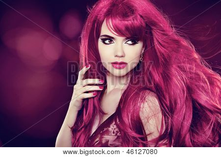 Hair. Beautiful Girl. Healthy Long Hair. Beauty Model Woman. Hairstyle. Holiday Background