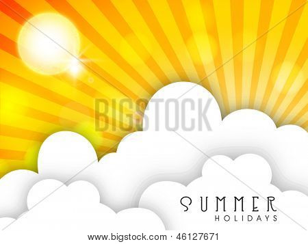 Shiny Sun and clouds, Hot Summer background.