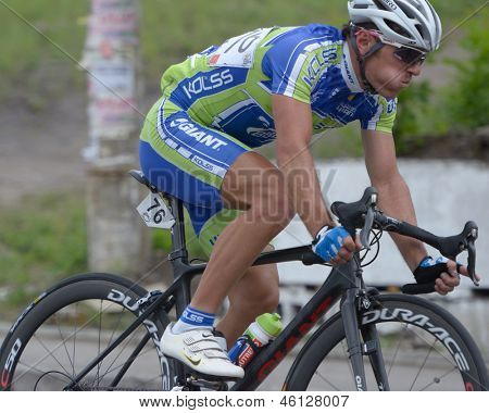 KIEV, UKRAINE - MAY 24: Denis Kostyuk, Kolss cycling team, Ukraine, in the bicycle racing Race Horizon Park in Kiev, Ukraine on May 24, 2013