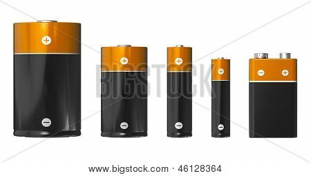 Different sizes of batteries: D, C, AA, AAA and PP3 (9V)